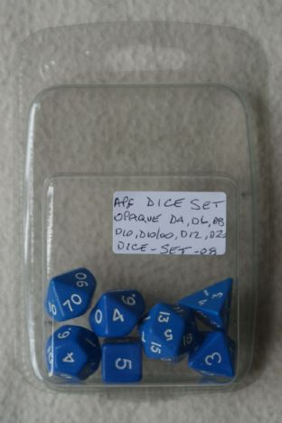 APF DICE-SET-08 (D4, D6, D8, D10, D10/00, D12 & D20) Opaque Poly Dice Set Blue with White Numbers